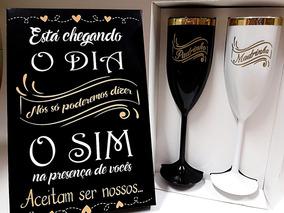 Kit 4 Caixas Madrinha Padrinho Noivado Casamento Lembrança