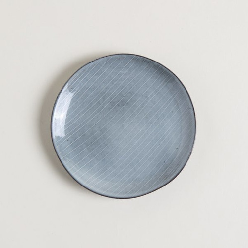 Plato Postre De Ceramica Gris Con Lineas Nagpur 20 Cm