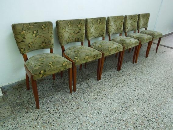 Juego 6 Sillas Art Deco Pana Labrada Mesa Comedor Excelentes