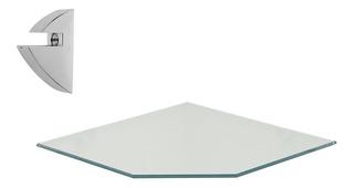 Repisa Esquinera Vidrio C/recorte 2 Pz 0.8x20x20cm 08619.001