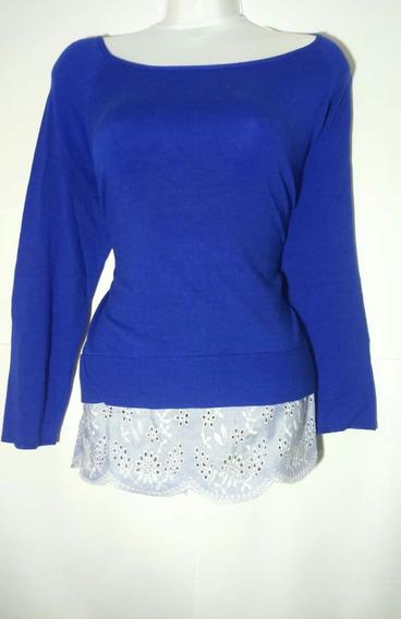 Sweter Azul Rey Con Adornos Cuello De Hojal Sfera Talls 32