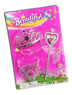 Set De Belleza Corona Princesa Barbie Aros Juguete Niños 5pz
