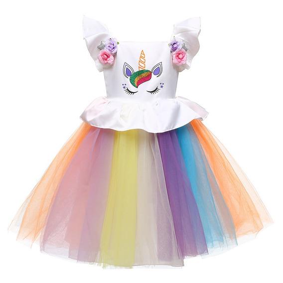 Niñas Unicornio Vestido Arco Iris