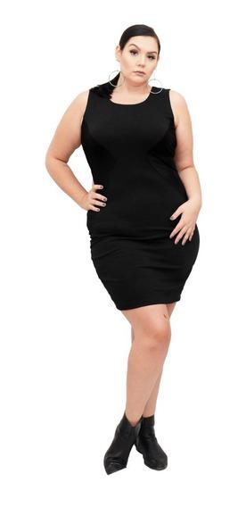 Roupa Feminina Vestido Tubo Detalhe Cirrê Plus Size