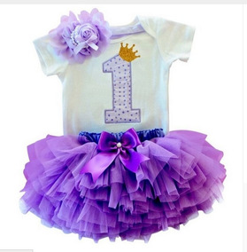 Vestido Infantil 1 Um Ano Kit Body Saia Tutu Tiara Laço Bebê
