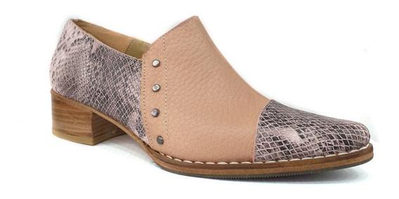 Zapato Mujer Charrito Cuero Legitmo Bi Color
