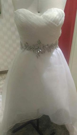 Vestido Assimétrico Off White Noiva/ Debutante Lindo Demais