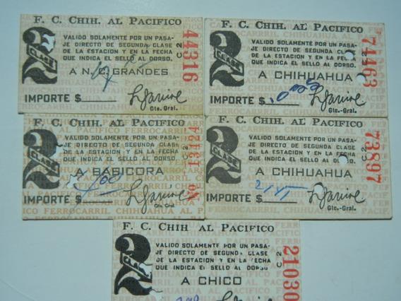 5.- Boletos Tren 1962 Tren Chihuahua- Pacifico