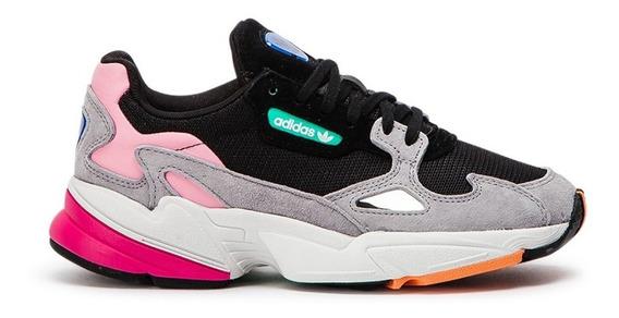 Tenis adidas Falcon Gris-rosa Original Dama 50% Dcto