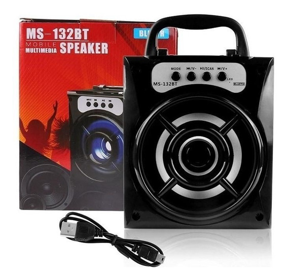 Caixa Som Portátil Bluetooth Super Bass 8w Fm Sd Usb P2 Aux
