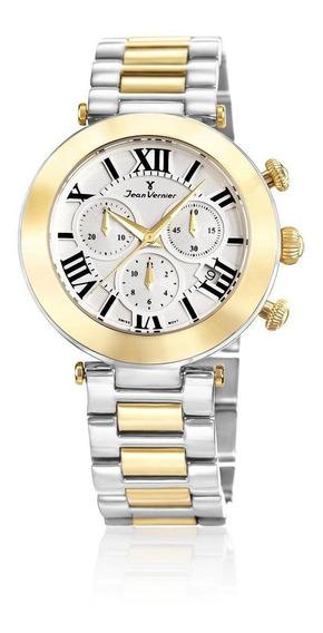 Relógio Pulso Jean Vernier Feminino Com Cristal Jv06851