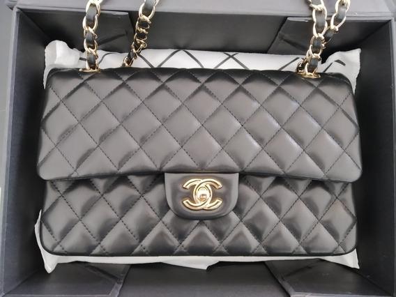 Chanel Classic Flap 2.55 Couro Lambskin Golden Média