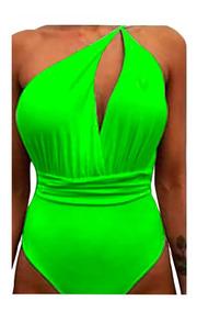 Body Feminino Com Bojo Decote Cavado 6 Amarração Neon Preto