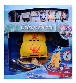 Barco Pirata Galeón Con Muñecos Y Accesorios Tipo Playmobil