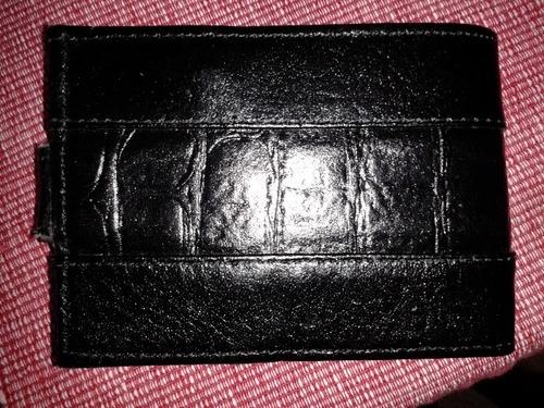 Billetera Negra Cuero Sintético Unisex Varios Compartimentos