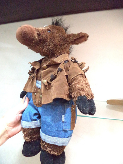 Cavalo Pelucia Vestido De Cowboy Lindo Da Happy Toys Antigo