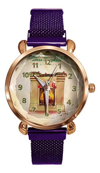 Señora Feliz Navidad Reloj De Cuarzo Plantas Ciervos De Nav