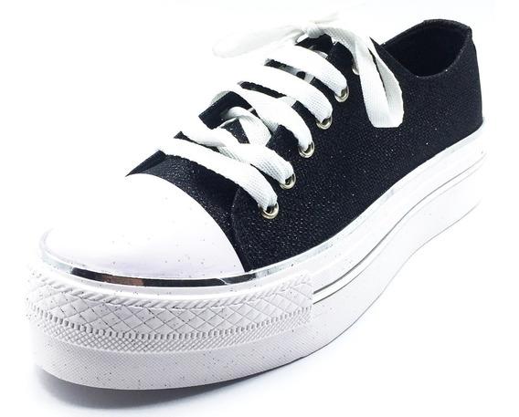 Zapatillas Mujer Urbana Plataforma All Star Brillo Gliter