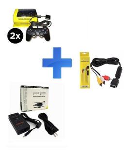 Kit Para Playstation 2 Ps2 - 2 Controles, Fonte E Cabo Av