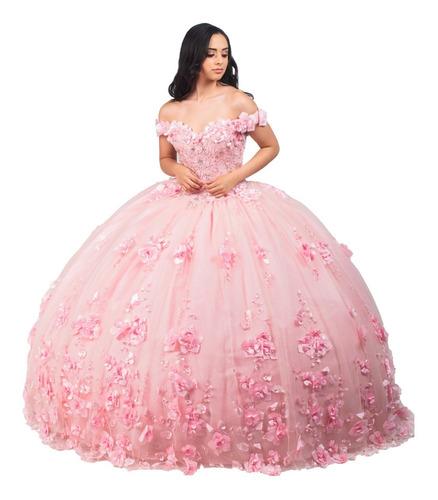 Imagen 1 de 10 de Vestido Largo De Quinceañera Flores 3d Tulle Glitter Encaje