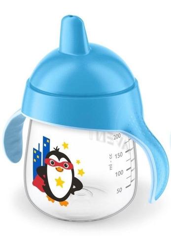Vaso Pinguino Entrenador Avent 9oz Boquilla Rigida 9m+ Azul