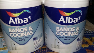 Pinturas Baños Y Cocinas Alba Latex Antihongo 4lt +lija
