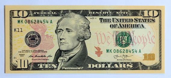 Uma Cédula Nota Fe 10 Dólar, Estados Unidos 2013 P/ Coleção