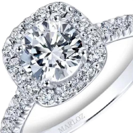 Anillo Compromiso Mod Tiffany Oro Blanco 14k 1.2ct Brillante