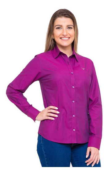 Camisa Social Feminina Samy - Pimenta Rosada Fio Egípcio