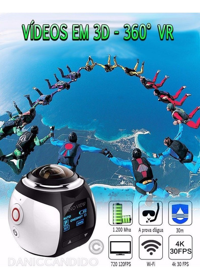 Filmadora E Camera 360° Branca Perolizada Ultra Hd