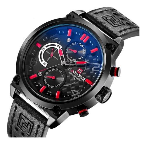 Relógio  Masculino Naviforce Quartzo Aço 9068 Em Couro