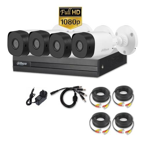 Imagen 1 de 10 de Kit 4 Camaras Seguridad 2mpx 1080p+ Dvr 8 Canales Dahua P2p