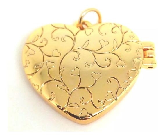 Pingente Coração Relicário Banhado Ouro 18k + Veludo