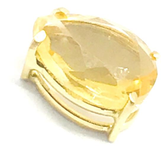 Pingente Em Ouro 18k Pedra Citrino Natural Gota