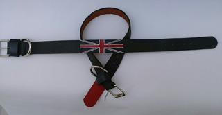 Collar Para Perro Bandera Inglaterra 100% Cuero Hecho A Mano