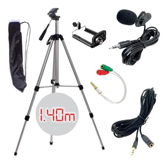 Kit Youtuber Microfone De Lapela P/ Celular Câmera Acessorio