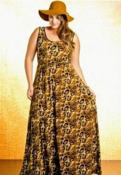 Lote 5 Vestido Longo Plus Size Malha Fria Regata Atacado