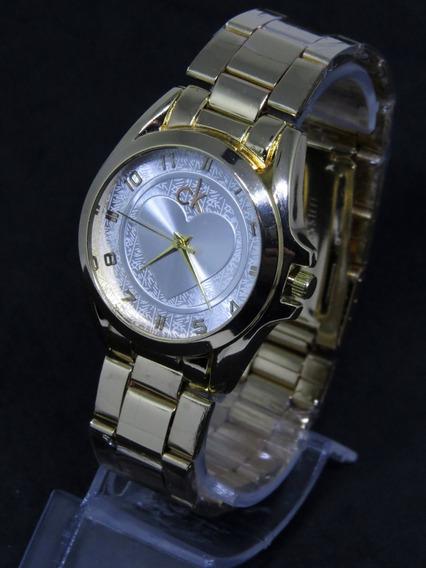 Relógio Feminino Dourado Ouro Coração Original Ck Caixa C292