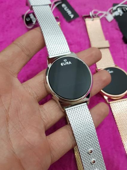 10 Relógios Redondo Touch Screnn Led Silicone Marca Eura
