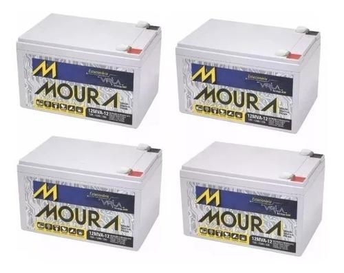 Kit 4 Baterias Moura 12v 12a Bike Elétrica Rema + Garantia