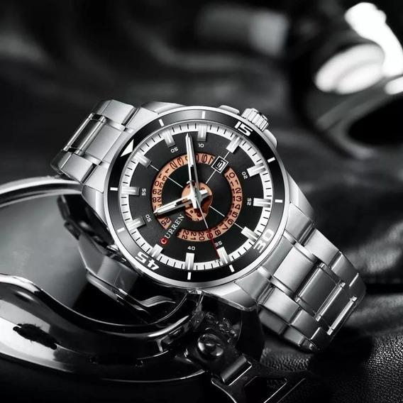 Relógio Masculino Curren Luxo Prateado Black Friday Promoção