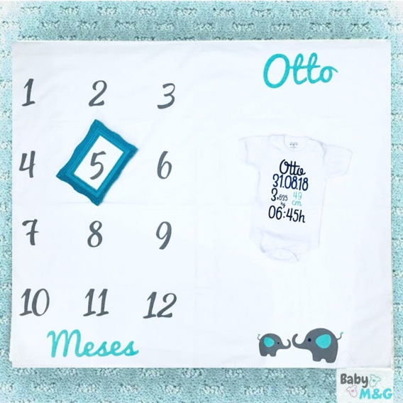 Kit Tapete Mesversario+body Dados Do Nascimento-babym&g