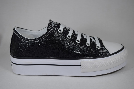 Zapatilla Alta Simil All Star Negro Glitter Roller 35 Al 40