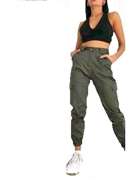 Pantalon Cargo Jogger Mujer Gabardina Elastizada Envio Gra