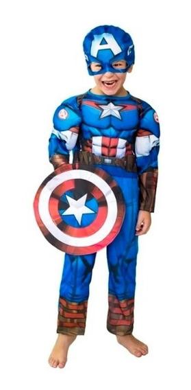 Disfraz Capitan America Con Musculos Originales Titanweb