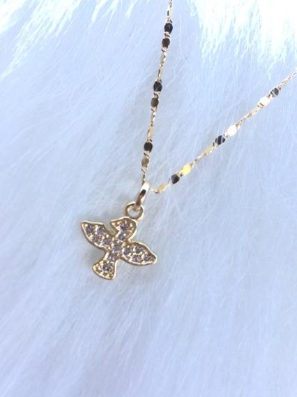 Gargantilha Semijoia Banhada A Ouro+ Pingente Cravejado Em Cristais Com Garantia