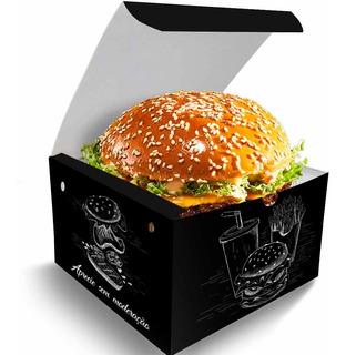 Caixa Box Embalagem Para Hambúrguer Artesanal Preto 1000un