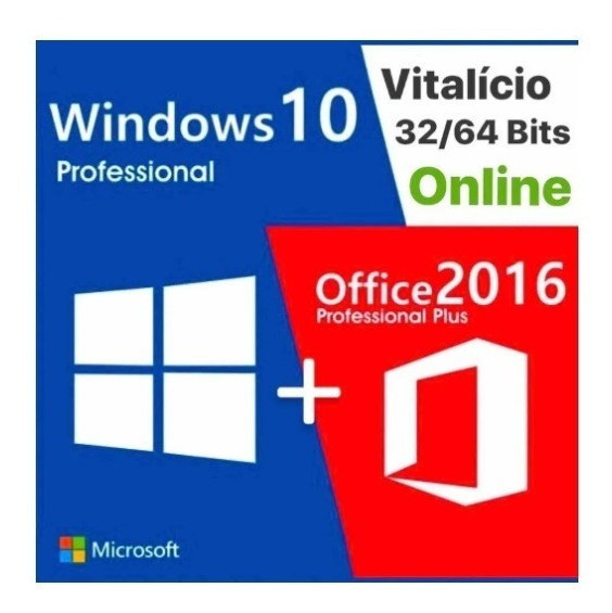 Key Chave Licença Windows 10 Pro Office2016 Envio Imediato