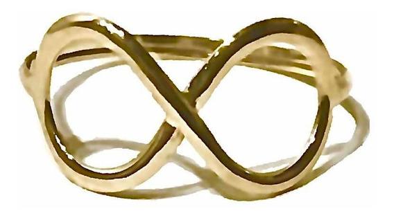 Anel Infinito Ouro 18k 750 Leve E Resistente