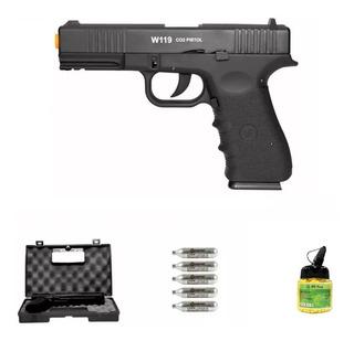 Pistola Airsoft Co2 Wg Glock W119 Slide Metal 6mm Blowback